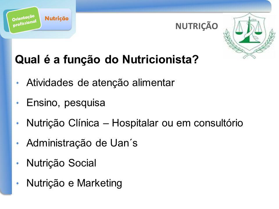 Qual é a função do Nutricionista? Orientação profissional Nutrição Atividades de atenção alimentar Ensino, pesquisa Nutrição Clínica – Hospitalar ou e