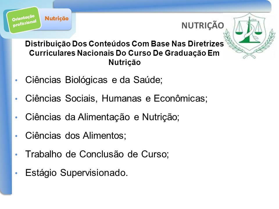 Orientação profissional Nutrição Ciências Biológicas e da Saúde; Ciências Sociais, Humanas e Econômicas; Ciências da Alimentação e Nutrição; Ciências