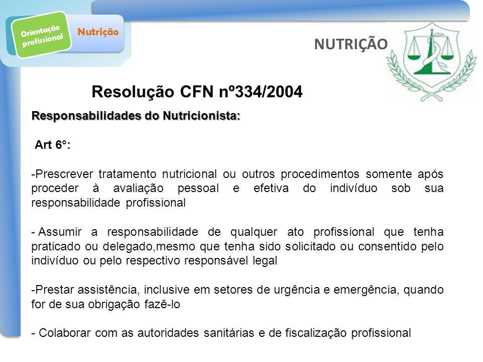 Orientação profissional Nutrição Resolução CFN nº334/2004 NUTRIÇÃO Responsabilidades do Nutricionista: Art 6°: -Prescrever tratamento nutricional ou o