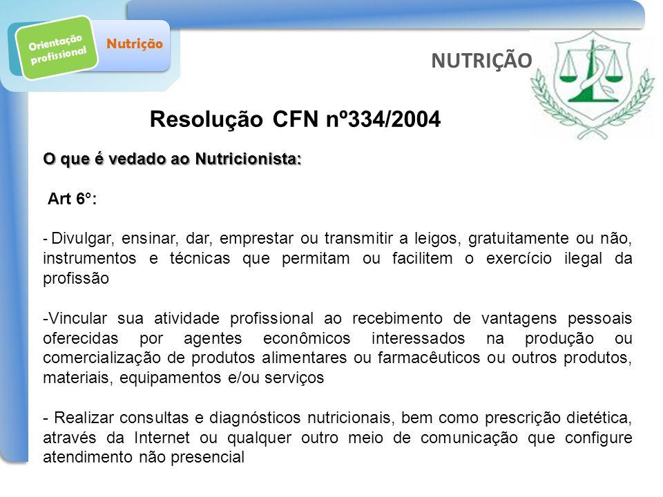 Orientação profissional Nutrição Resolução CFN nº334/2004 NUTRIÇÃO O que é vedado ao Nutricionista: Art 6°: - Divulgar, ensinar, dar, emprestar ou tra