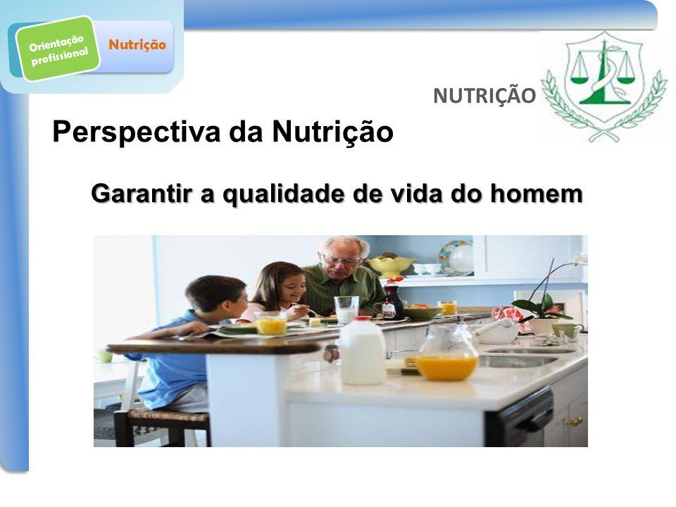 Orientação profissional Nutrição Perspectiva da Nutrição Garantir a qualidade de vida do homem NUTRIÇÃO