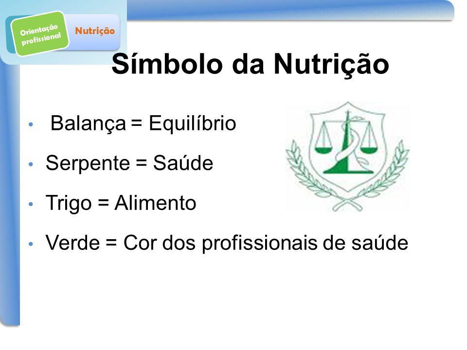 Símbolo da Nutrição Orientação profissional Nutrição Balança = Equilíbrio Serpente = Saúde Trigo = Alimento Verde = Cor dos profissionais de saúde