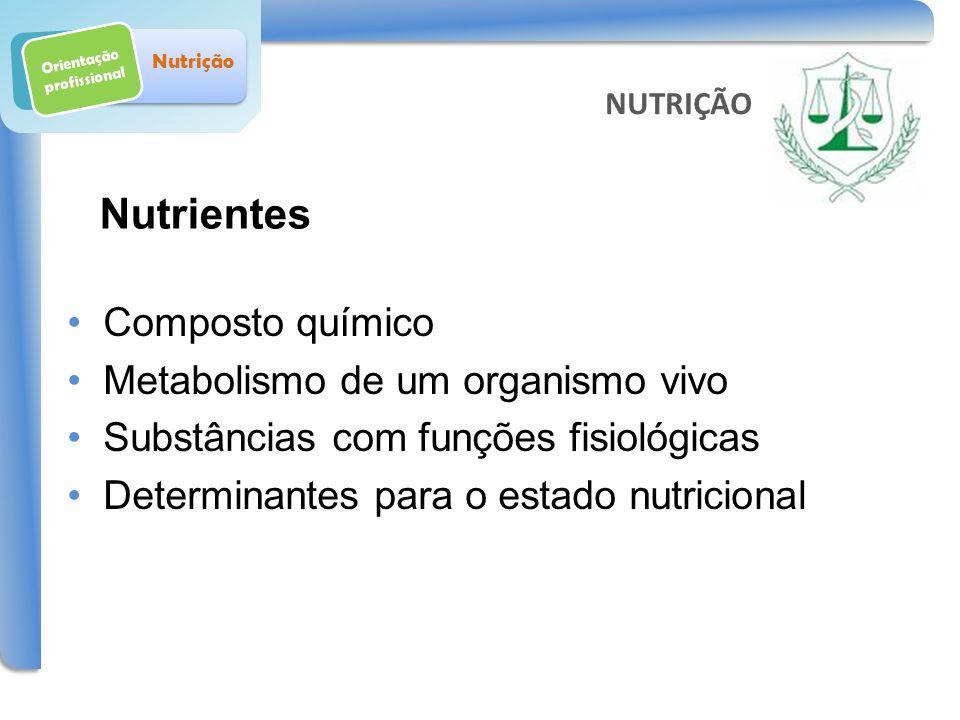 Orientação profissional Nutrição Composto químico Metabolismo de um organismo vivo Substâncias com funções fisiológicas Determinantes para o estado nu
