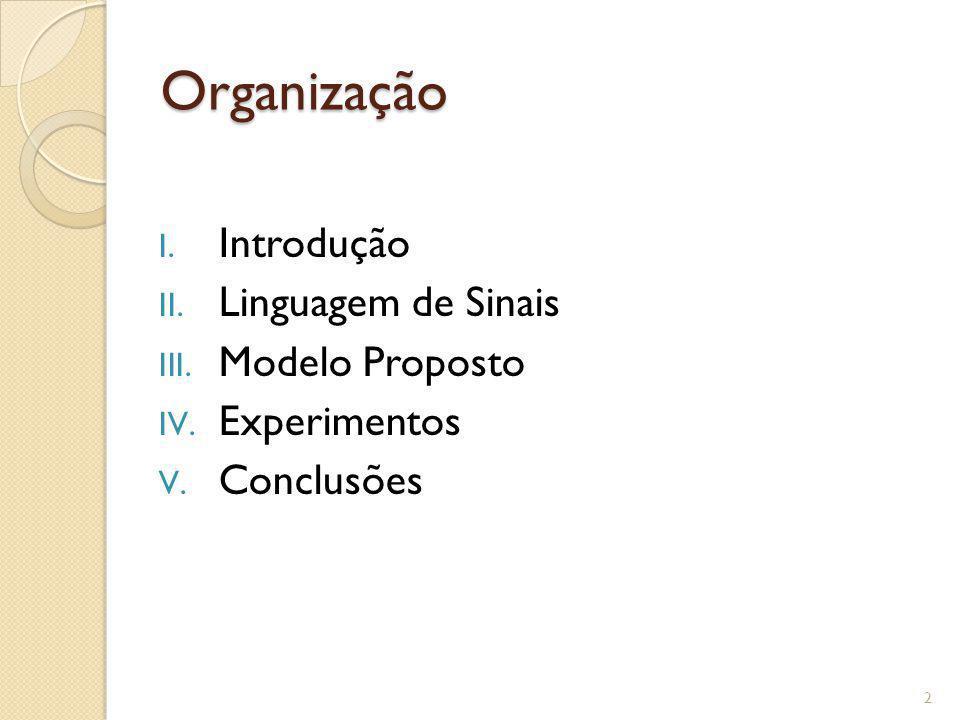 Organização I. Introdução II. Linguagem de Sinais III. Modelo Proposto IV. Experimentos V. Conclusões 2