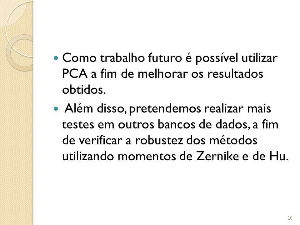 Como trabalho futuro é possível utilizar PCA a fim de melhorar os resultados obtidos. Além disso, pretendemos realizar mais testes em outros bancos de