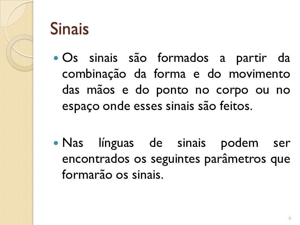 Sinais Os sinais são formados a partir da combinação da forma e do movimento das mãos e do ponto no corpo ou no espaço onde esses sinais são feitos.