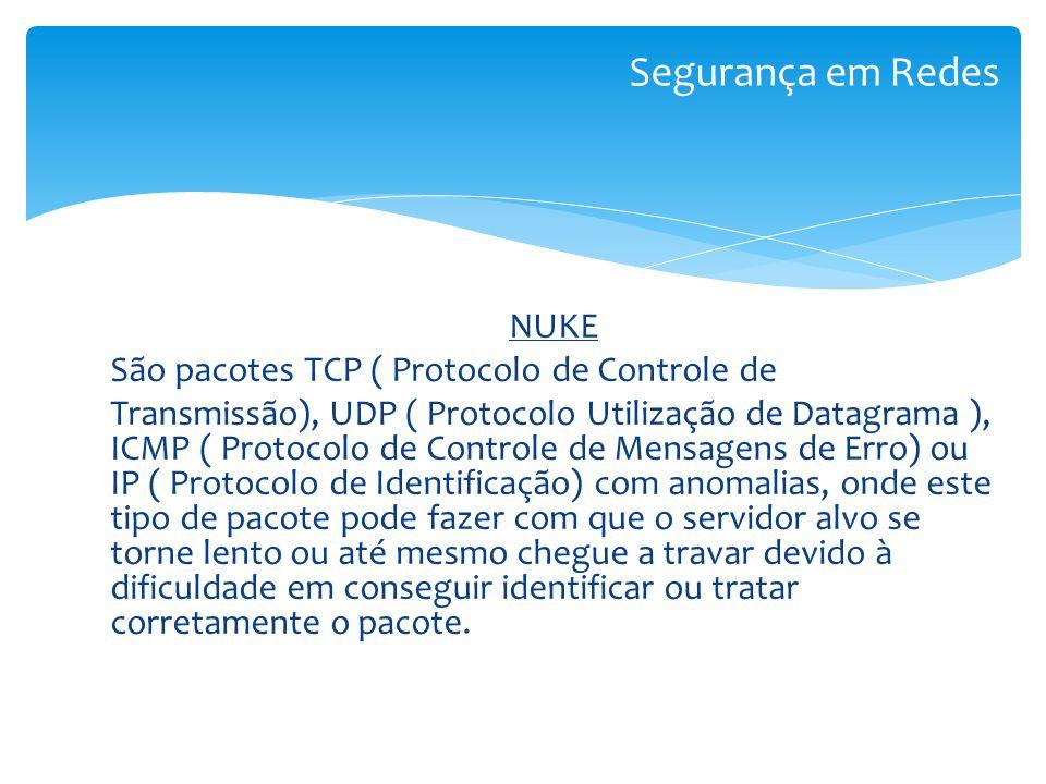 NUKE São pacotes TCP ( Protocolo de Controle de Transmissão), UDP ( Protocolo Utilização de Datagrama ), ICMP ( Protocolo de Controle de Mensagens de