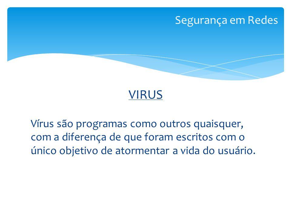 VIRUS Vírus são programas como outros quaisquer, com a diferença de que foram escritos com o único objetivo de atormentar a vida do usuário. Segurança