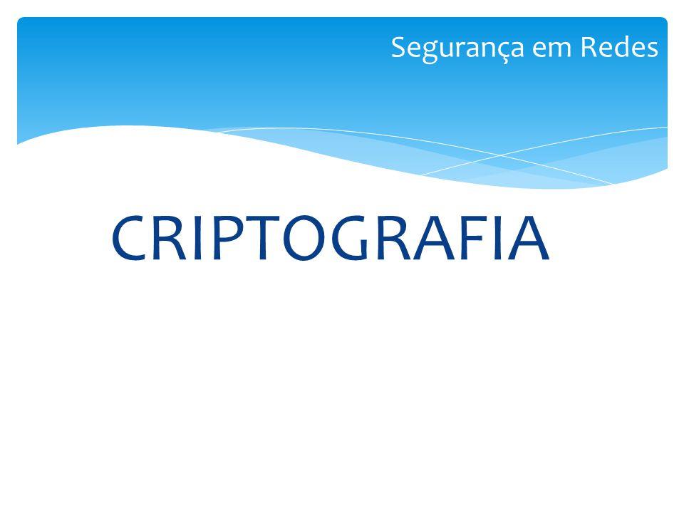 CRIPTOGRAFIA Segurança em Redes