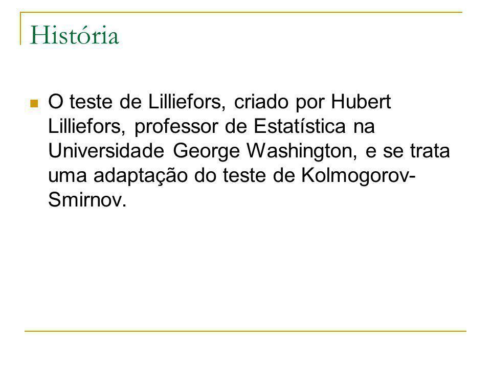 História O teste de Lilliefors, criado por Hubert Lilliefors, professor de Estatística na Universidade George Washington, e se trata uma adaptação do teste de Kolmogorov- Smirnov.
