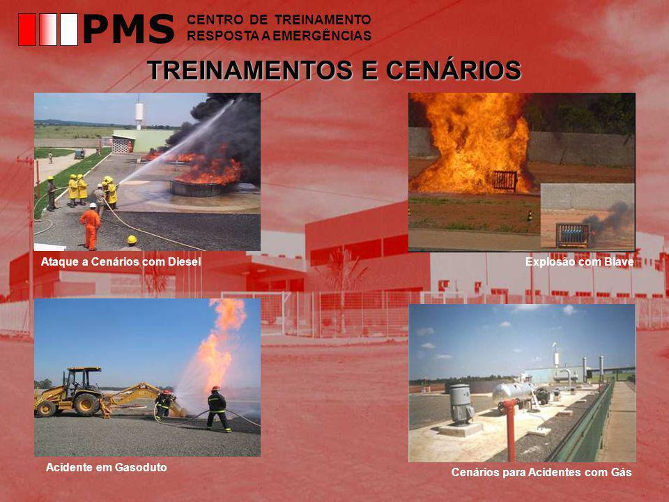 TREINAMENTOS E CENÁRIOS Ataque a Cenários com DieselExplosão com Blave Acidente em Gasoduto Cenários para Acidentes com Gás PMS CENTRO DE TREINAMENTO RESPOSTA A EMERGÊNCIAS