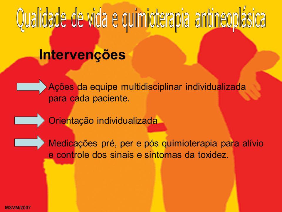MSVM/2007 Intervenções Ações da equipe multidisciplinar individualizada para cada paciente. Orientação individualizada Medicações pré, per e pós quimi