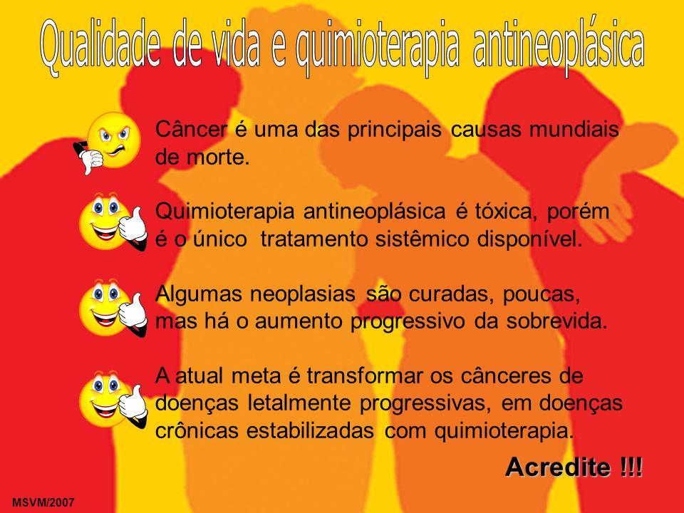 MSVM/2007 Câncer é uma das principais causas mundiais de morte. Quimioterapia antineoplásica é tóxica, porém é o único tratamento sistêmico disponível