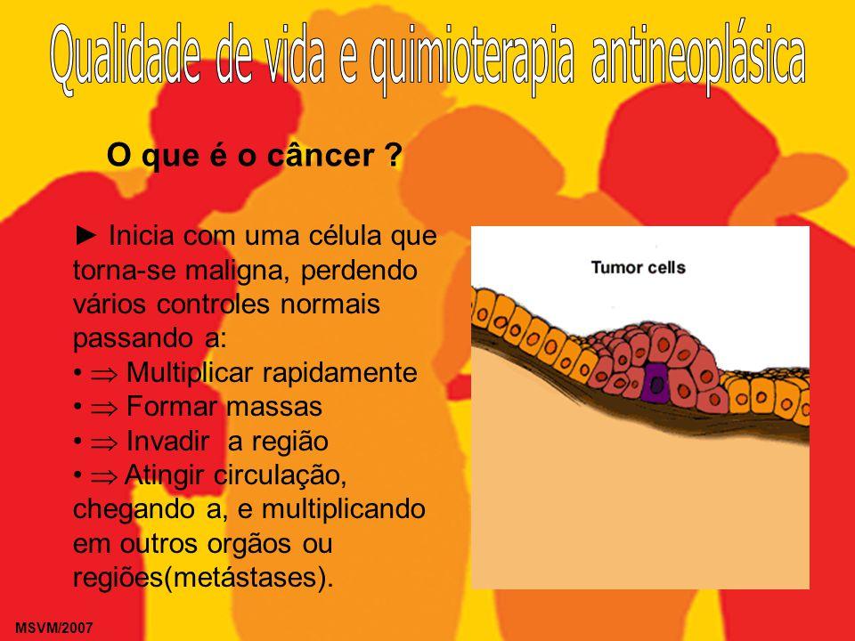 MSVM/2007 O que é o câncer ? Inicia com uma célula que torna-se maligna, perdendo vários controles normais passando a: Multiplicar rapidamente Formar