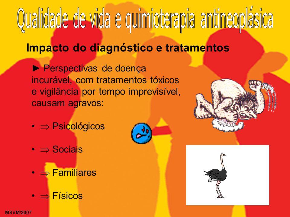 MSVM/2007 Impacto do diagnóstico e tratamentos Perspectivas de doença incurável, com tratamentos tóxicos e vigilância por tempo imprevisível, causam a