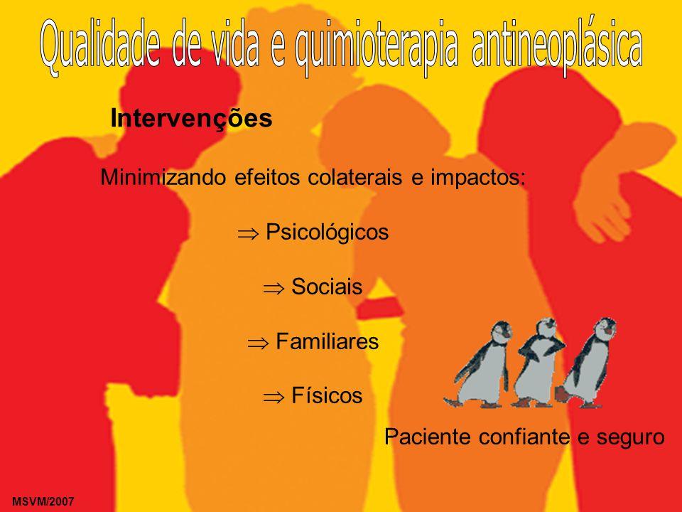 MSVM/2007 Intervenções Minimizando efeitos colaterais e impactos: Psicológicos Sociais Familiares Físicos Paciente confiante e seguro