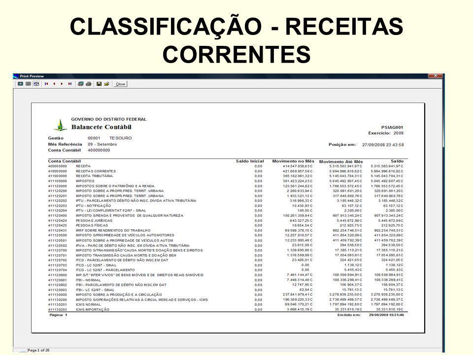 CLASSIFICAÇÃO - RECEITAS CORRENTES