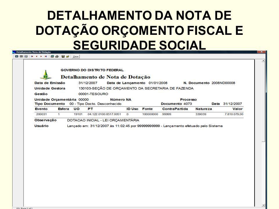 DETALHAMENTO DA NOTA DE DOTAÇÃO ORÇOMENTO FISCAL E SEGURIDADE SOCIAL