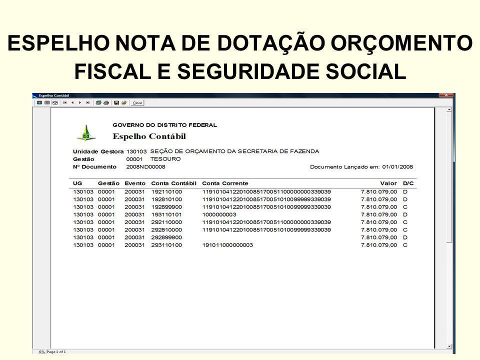 ESPELHO NOTA DE DOTAÇÃO ORÇOMENTO FISCAL E SEGURIDADE SOCIAL