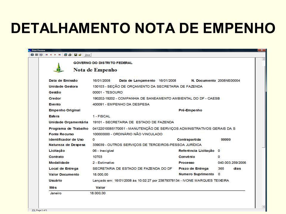 DETALHAMENTO NOTA DE EMPENHO