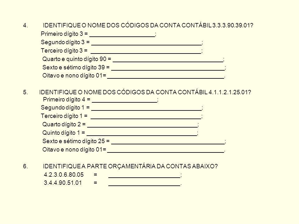 4.IDENTIFIQUE O NOME DOS CÓDIGOS DA CONTA CONTÁBIL 3.3.3.90.39.01.