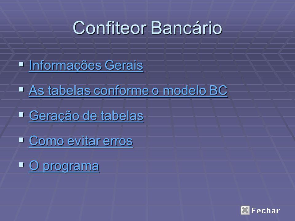Confiteor Bancário Informações Gerais Informações Gerais Informações Gerais Informações Gerais As tabelas conforme o modelo BC As tabelas conforme o m