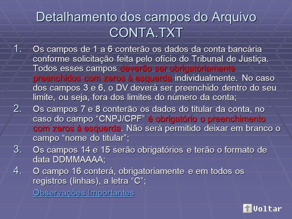 Detalhamento dos campos do Arquivo LANCAMENTO.TXT 1.