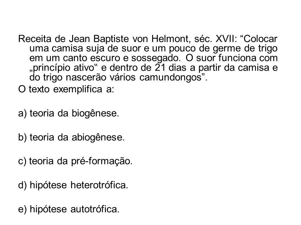 Receita de Jean Baptiste von Helmont, séc. XVII: Colocar uma camisa suja de suor e um pouco de germe de trigo em um canto escuro e sossegado. O suor f