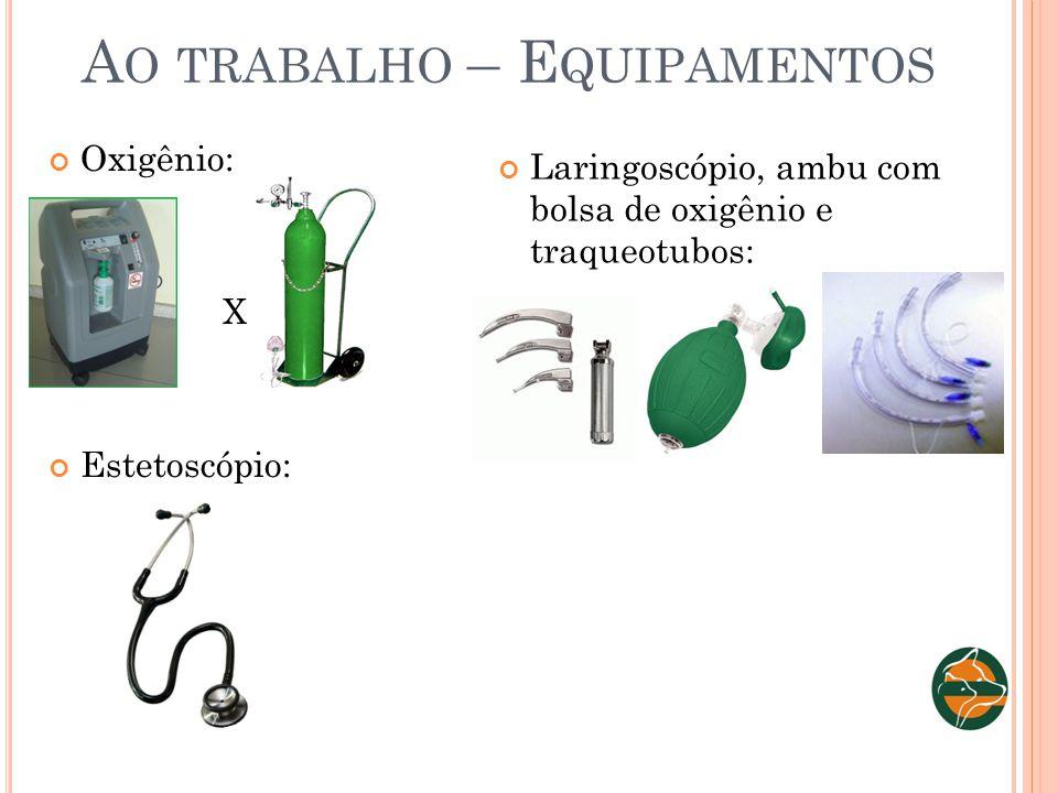 A O TRABALHO – E QUIPAMENTOS Oxigênio: X Estetoscópio: Laringoscópio, ambu com bolsa de oxigênio e traqueotubos: