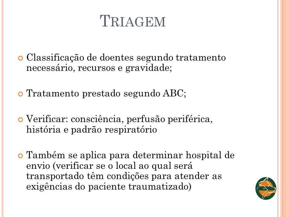 T RIAGEM Classificação de doentes segundo tratamento necessário, recursos e gravidade; Tratamento prestado segundo ABC; Verificar: consciência, perfus