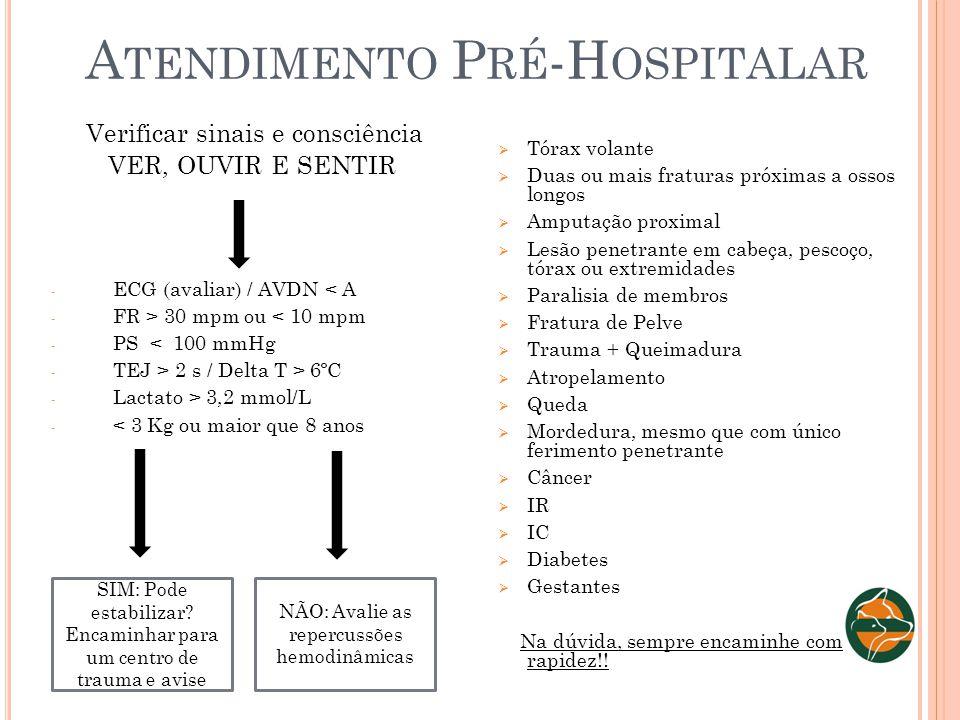 A TENDIMENTO P RÉ -H OSPITALAR Verificar sinais e consciência VER, OUVIR E SENTIR - ECG (avaliar) / AVDN < A - FR > 30 mpm ou < 10 mpm - PS < 100 mmHg