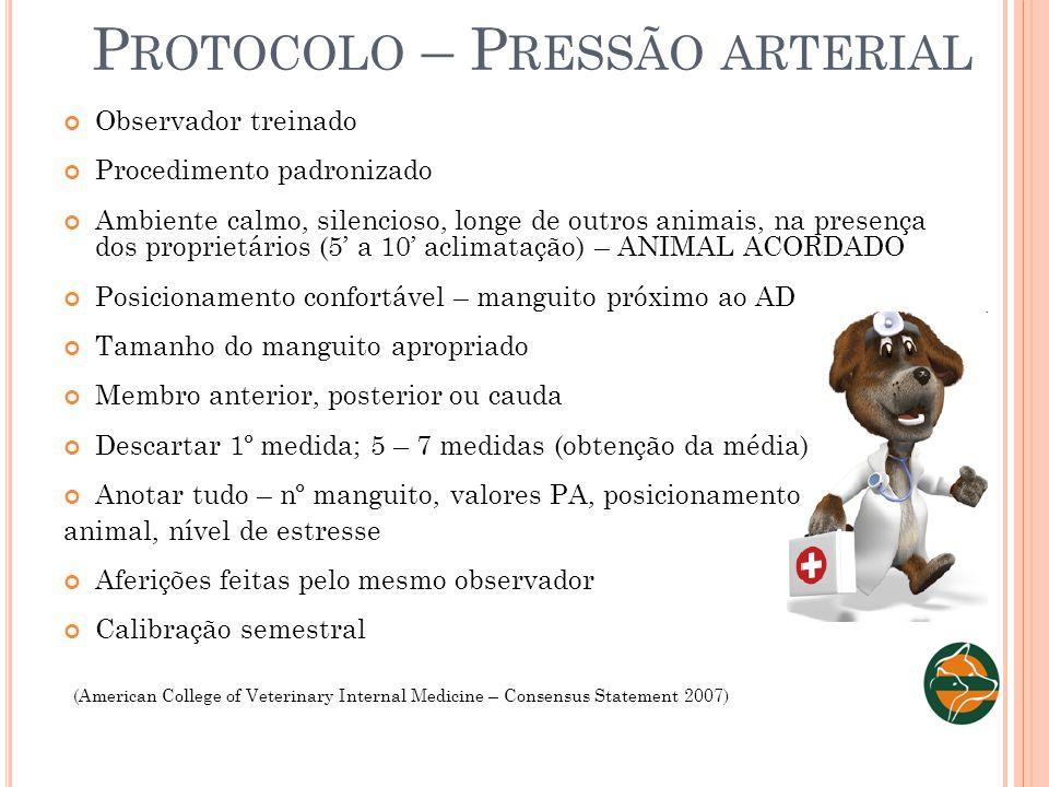 P ROTOCOLO – P RESSÃO ARTERIAL Observador treinado Procedimento padronizado Ambiente calmo, silencioso, longe de outros animais, na presença dos propr