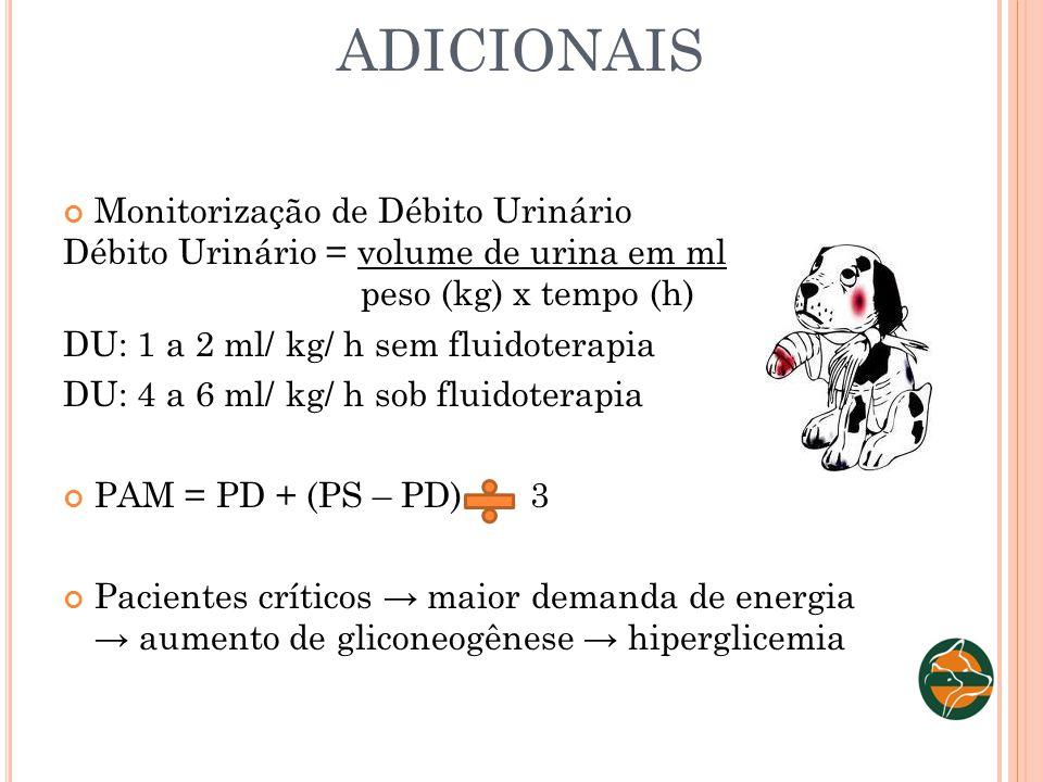 ADICIONAIS Monitorização de Débito Urinário Débito Urinário = volume de urina em ml peso (kg) x tempo (h) DU: 1 a 2 ml/ kg/ h sem fluidoterapia DU: 4