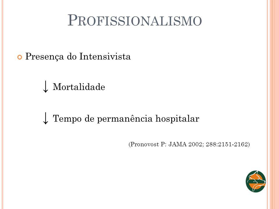 P ROFISSIONALISMO Presença do Intensivista Mortalidade Tempo de permanência hospitalar (Pronovost P: JAMA 2002; 288:2151-2162)