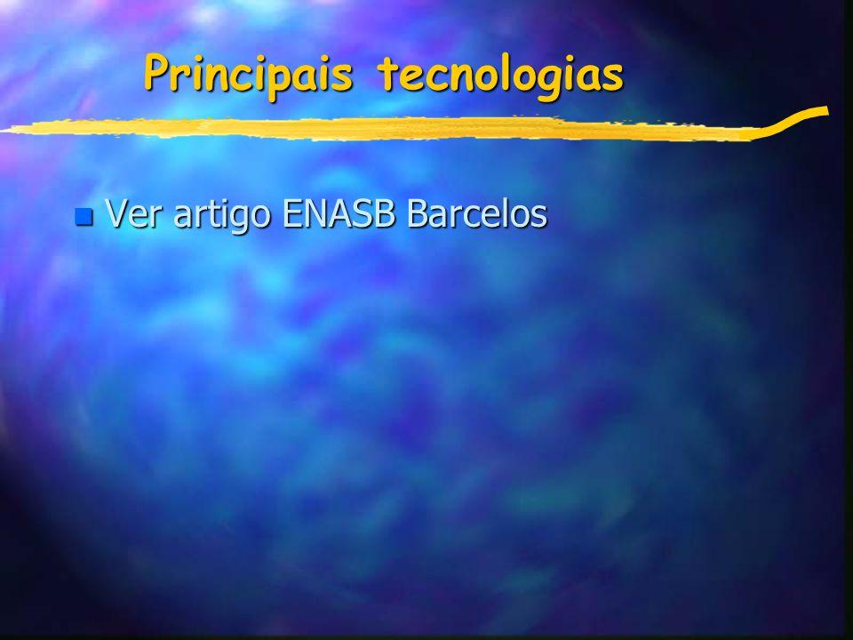 Principais tecnologias n Ver artigo ENASB Barcelos