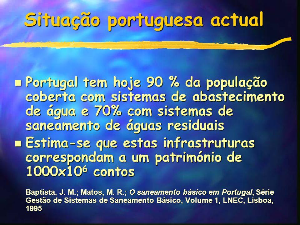 Situação portuguesa actual n Portugal tem hoje 90 % da população coberta com sistemas de abastecimento de água e 70% com sistemas de saneamento de águas residuais n Estima-se que estas infrastruturas correspondam a um património de 1000x10 6 contos Baptista, J.