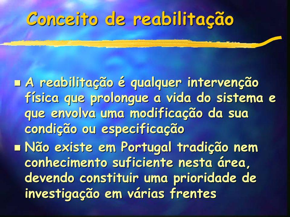 Conceito de reabilitação n A reabilitação é qualquer intervenção física que prolongue a vida do sistema e que envolva uma modificação da sua condição ou especificação Não existe em Portugal tradição nem conhecimento suficiente nesta área, devendo constituir uma prioridade de investigação em várias frentes Não existe em Portugal tradição nem conhecimento suficiente nesta área, devendo constituir uma prioridade de investigação em várias frentes