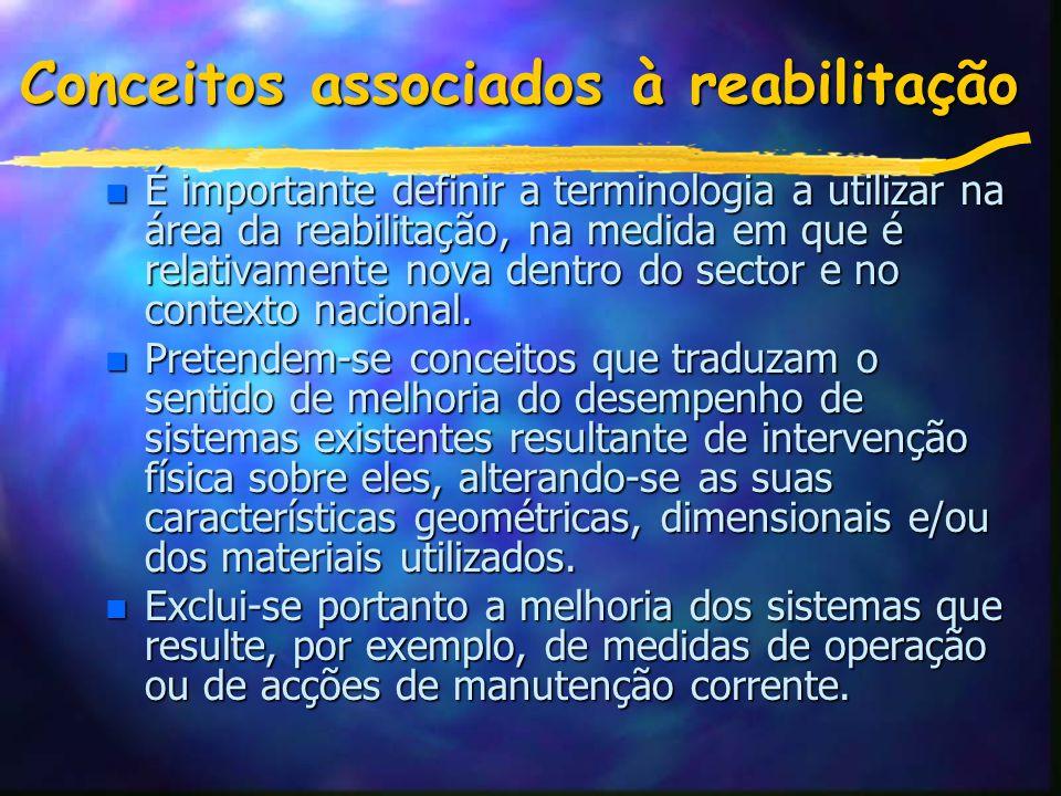 Conceitos associados à reabilitação n É importante definir a terminologia a utilizar na área da reabilitação, na medida em que é relativamente nova dentro do sector e no contexto nacional.