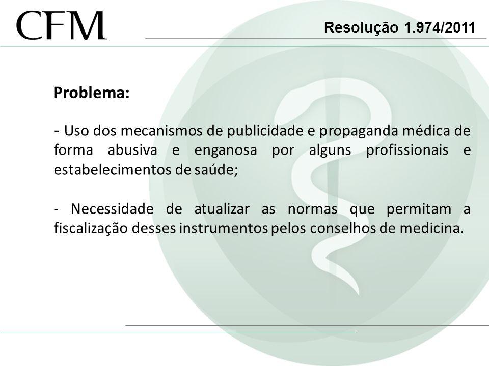 Resolução 1.974/2011 Problema: - Uso dos mecanismos de publicidade e propaganda médica de forma abusiva e enganosa por alguns profissionais e estabele