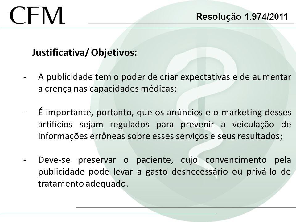 Resolução 1.974/2011 Justificativa/ Objetivos: -A publicidade tem o poder de criar expectativas e de aumentar a crença nas capacidades médicas; -É imp