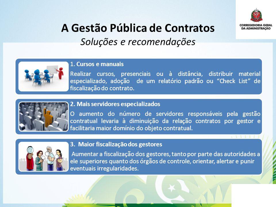 A Gestão Pública de Contratos Soluções e recomendações 1. Cursos e manuais Realizar cursos, presenciais ou à distância, distribuir material especializ