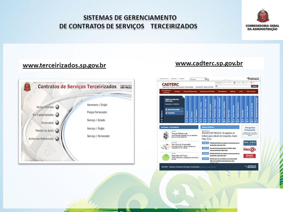 SISTEMAS DE GERENCIAMENTO DE CONTRATOS DE SERVIÇOS TERCEIRIZADOS SISTEMAS DE GERENCIAMENTO DE CONTRATOS DE SERVIÇOS TERCEIRIZADOS www.terceirizados.sp.gov.br www.cadterc.sp.gov.br