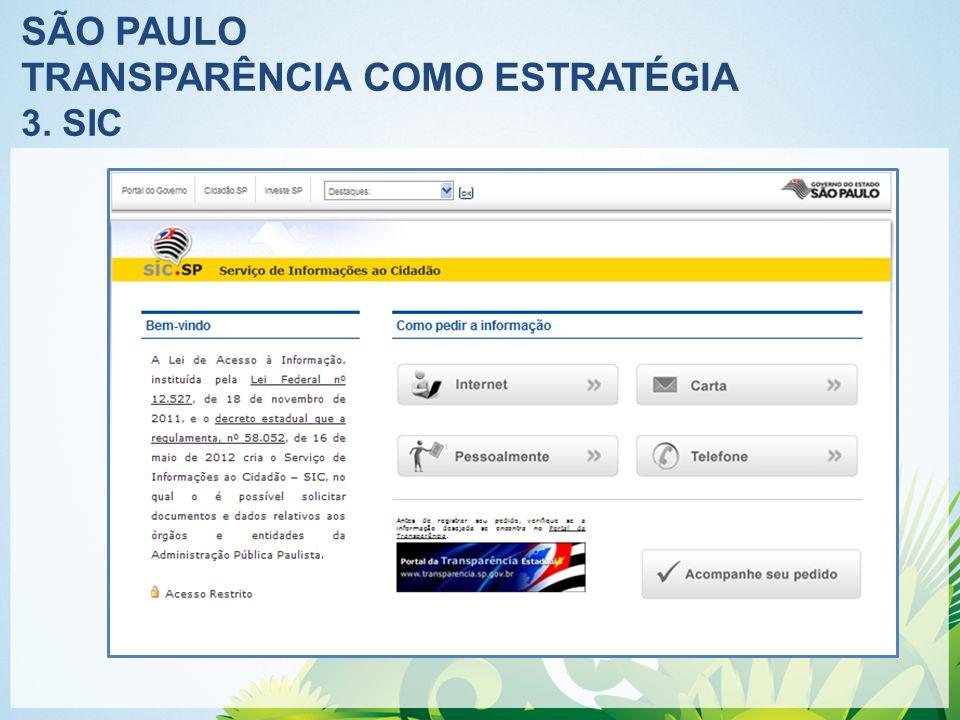 SÃO PAULO TRANSPARÊNCIA COMO ESTRATÉGIA 3. SIC