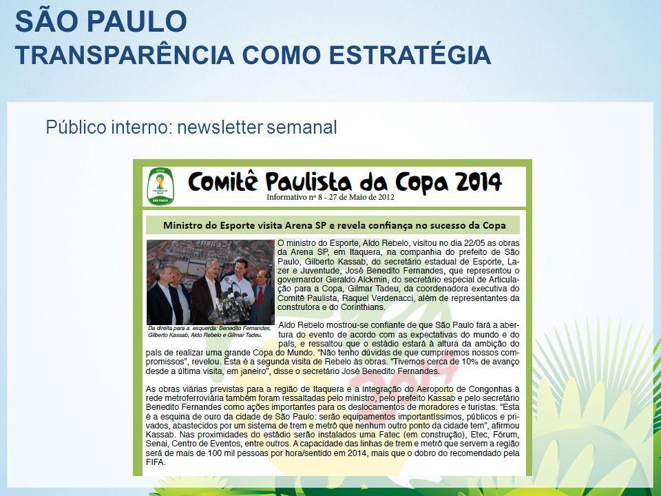 SÃO PAULO TRANSPARÊNCIA COMO ESTRATÉGIA Público interno: newsletter semanal