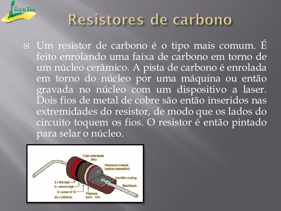 Um resistor de carbono é o tipo mais comum. É feito enrolando uma faixa de carbono em torno de um núcleo cerâmico. A pista de carbono é enrolada em to