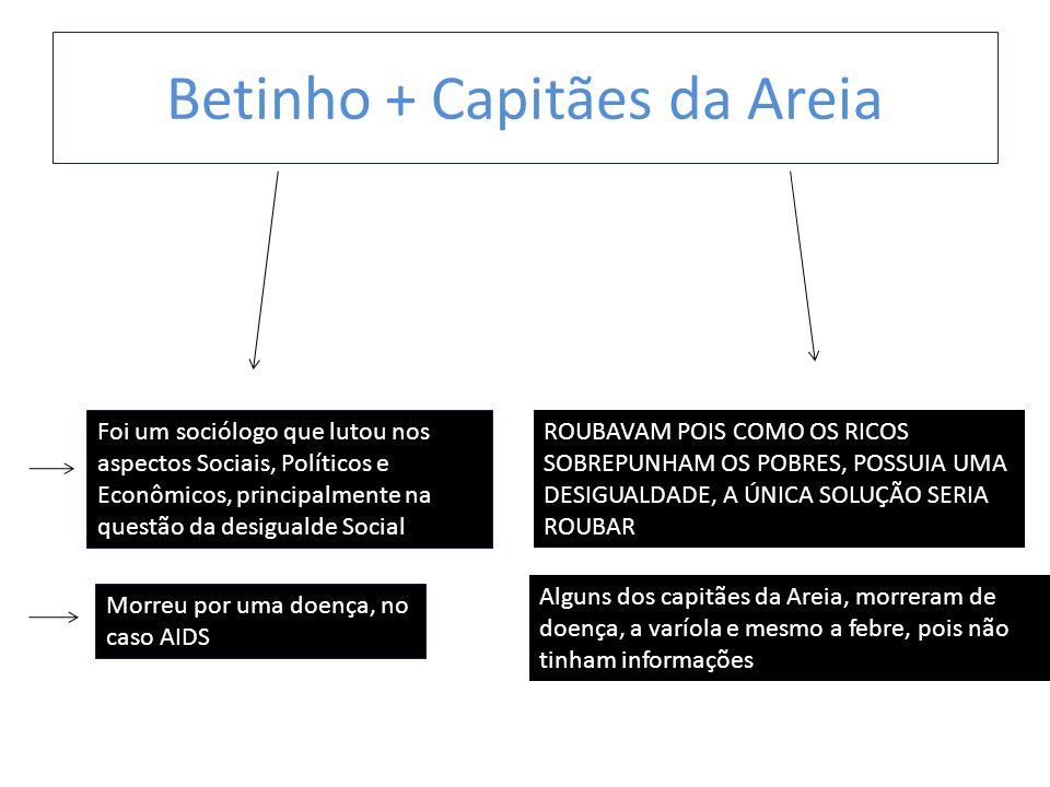 Betinho + Capitães da Areia Foi um sociólogo que lutou nos aspectos Sociais, Políticos e Econômicos, principalmente na questão da desigualde Social Mo