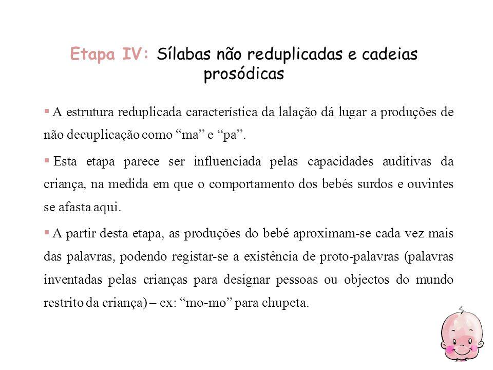 Etapa IV: Sílabas não reduplicadas e cadeias prosódicas A estrutura reduplicada característica da lalação dá lugar a produções de não decuplicação com