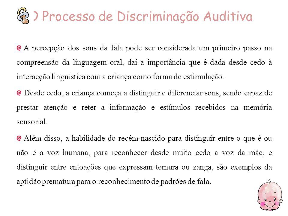 O Processo de Discriminação Auditiva A percepção dos sons da fala pode ser considerada um primeiro passo na compreensão da linguagem oral, daí a impor