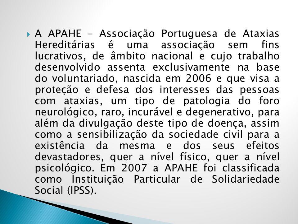 A APAHE – Associação Portuguesa de Ataxias Hereditárias é uma associação sem fins lucrativos, de âmbito nacional e cujo trabalho desenvolvido assenta