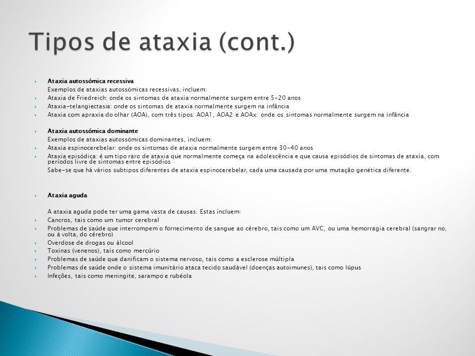 Ataxia autossómica recessiva Exemplos de ataxias autossómicas recessivas, incluem: Ataxia de Friedreich: onde os sintomas de ataxia normalmente surgem
